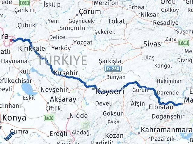 Ankara ile Malatya Arası Kaç Km? Kaç Saat? Arası Kaç Km Saat? Nerede Yol Haritası Yakıt, Rota ve Mesafe Hesaplama