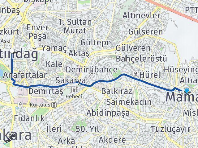 Ankara Mamak Altındağ Arası Kaç Km? Arası Kaç Km Saat? Nerede Yol Haritası Yakıt, Rota ve Mesafe Hesaplama