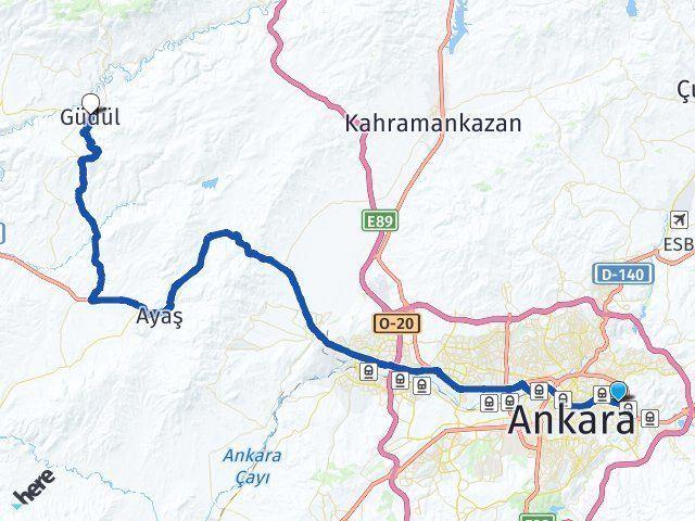 Ankara Mamak Güdül Arası Kaç Km? Arası Kaç Km Saat? Nerede Yol Haritası Yakıt, Rota ve Mesafe Hesaplama