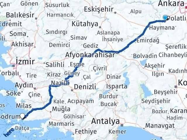 Ankara Polatlı Bodrum Arası Kaç Km? Arası Kaç Km Saat? Nerede Yol Haritası Yakıt, Rota ve Mesafe Hesaplama