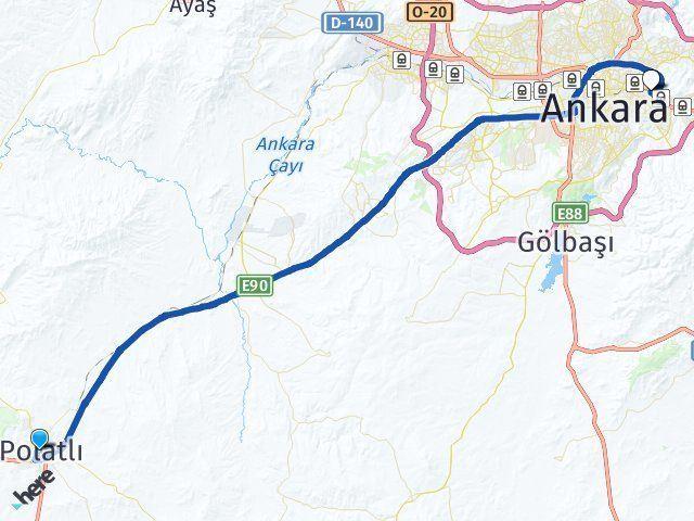 Ankara Polatlı Mamak Arası Kaç Km? Arası Kaç Km Saat? Nerede Yol Haritası Yakıt, Rota ve Mesafe Hesaplama