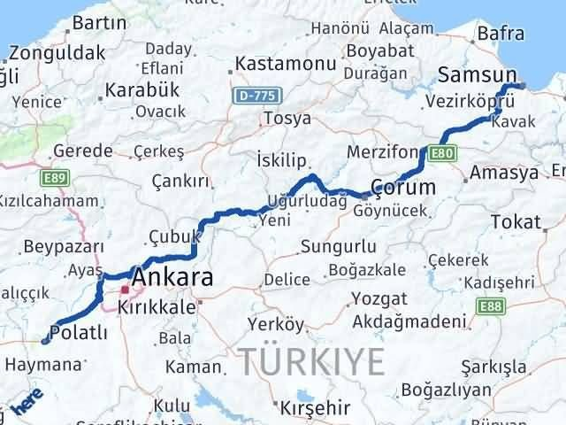 Ankara Polatlı Samsun Arası Kaç Km? Arası Kaç Km Saat? Nerede Yol Haritası Yakıt, Rota ve Mesafe Hesaplama