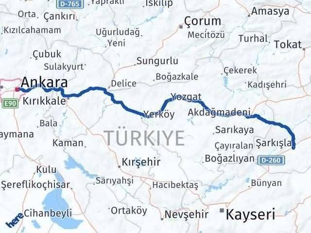 Ankara Şarkışla Arası Kaç Km? Arası Kaç Km Saat? Nerede Yol Haritası Yakıt, Rota ve Mesafe Hesaplama