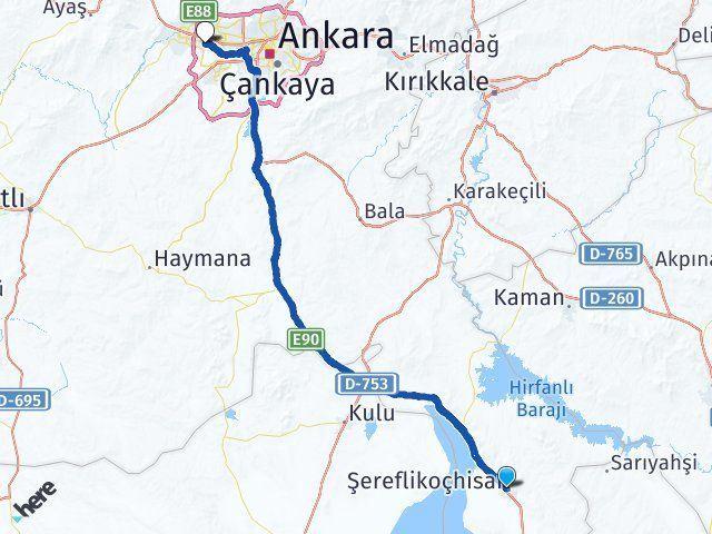 Ankara Şereflikoçhisar Etimesgut Arası Kaç Km? Arası Kaç Km Saat? Nerede Yol Haritası Yakıt, Rota ve Mesafe Hesaplama