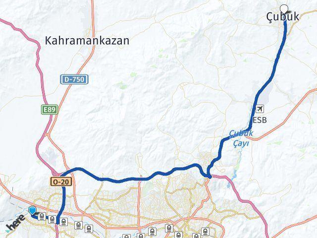 Ankara Sincan Çubuk Arası Kaç Km? Arası Kaç Km Saat? Nerede Yol Haritası Yakıt, Rota ve Mesafe Hesaplama