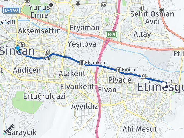 Ankara Sincan Etimesgut Arası Kaç Km? Arası Kaç Km Saat? Nerede Yol Haritası Yakıt, Rota ve Mesafe Hesaplama