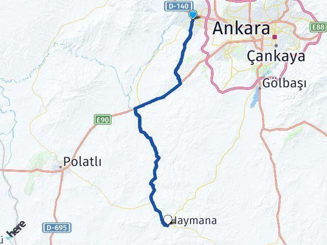 Ankara Sincan Haymana Arası Kaç Km? Arası Kaç Km Saat? Nerede Yol Haritası Yakıt, Rota ve Mesafe Hesaplama