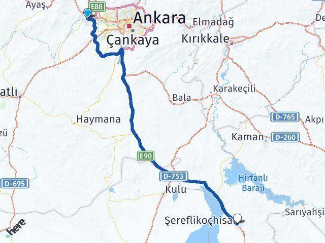 Ankara Sincan Şereflikoçhisar Arası Kaç Km? Arası Kaç Km Saat? Nerede Yol Haritası Yakıt, Rota ve Mesafe Hesaplama