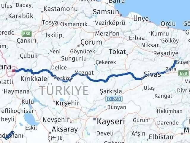 Ankara Suşehri Arası Kaç Km? Arası Kaç Km Saat? Nerede Yol Haritası Yakıt, Rota ve Mesafe Hesaplama