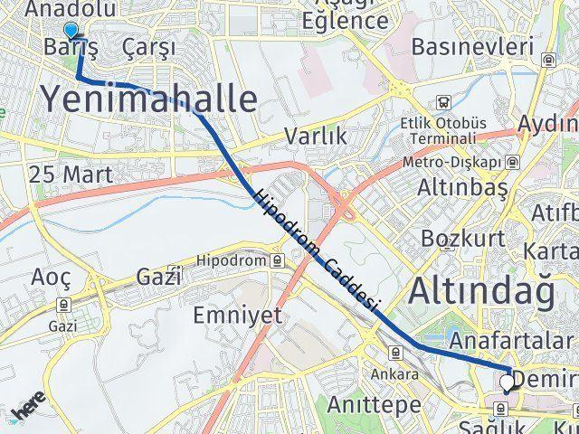 Yenimahalle Barış Hacettepe Altındağ Arası Kaç Km? Arası Kaç Km Saat? Nerede Yol Haritası Yakıt, Rota ve Mesafe Hesaplama