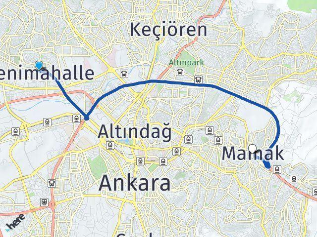 Ankara Yenimahalle Mamak Arası Kaç Km? Arası Kaç Km Saat? Nerede Yol Haritası Yakıt, Rota ve Mesafe Hesaplama