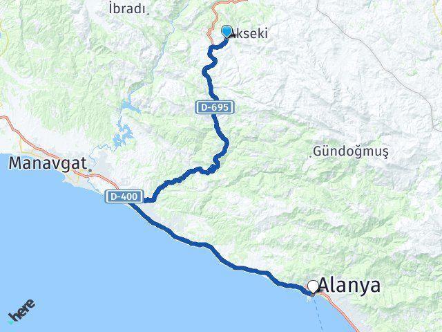 Antalya Akseki Alanya Arası Kaç Km? Arası Kaç Km Saat? Nerede Yol Haritası Yakıt, Rota ve Mesafe Hesaplama