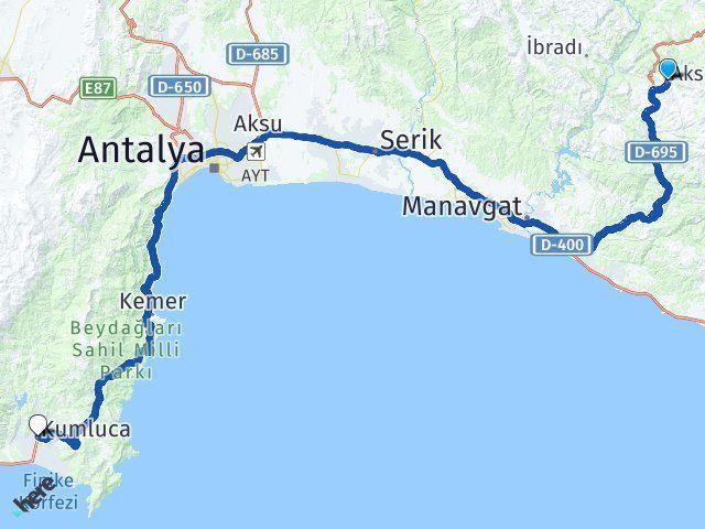 Antalya Akseki Kumluca Arası Kaç Km? Arası Kaç Km Saat? Nerede Yol Haritası Yakıt, Rota ve Mesafe Hesaplama