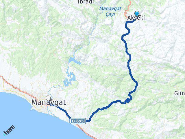 Antalya Akseki Manavgat Arası Kaç Km? Arası Kaç Km Saat? Nerede Yol Haritası Yakıt, Rota ve Mesafe Hesaplama