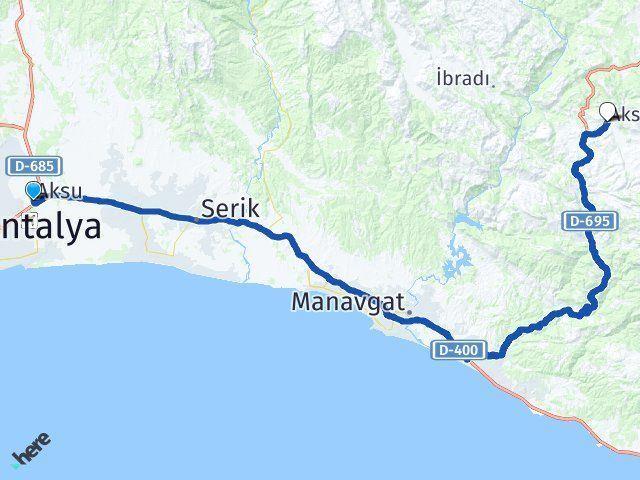 Aksu Antalya Akseki Arası Kaç Km? Arası Kaç Km Saat? Nerede Yol Haritası Yakıt, Rota ve Mesafe Hesaplama