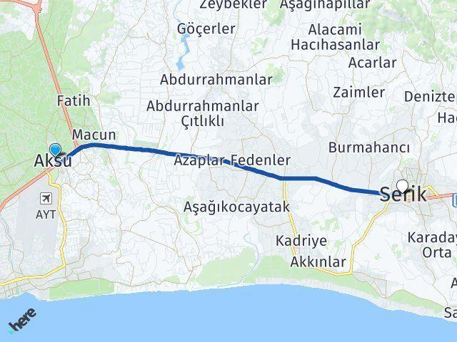 Aksu Antalya Serik Arası Kaç Km? Arası Kaç Km Saat? Nerede Yol Haritası Yakıt, Rota ve Mesafe Hesaplama