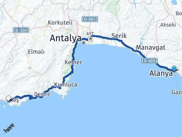 Antalya Alanya Kaş Arası Kaç Km? Arası Kaç Km Saat? Nerede Yol Haritası Yakıt, Rota ve Mesafe Hesaplama