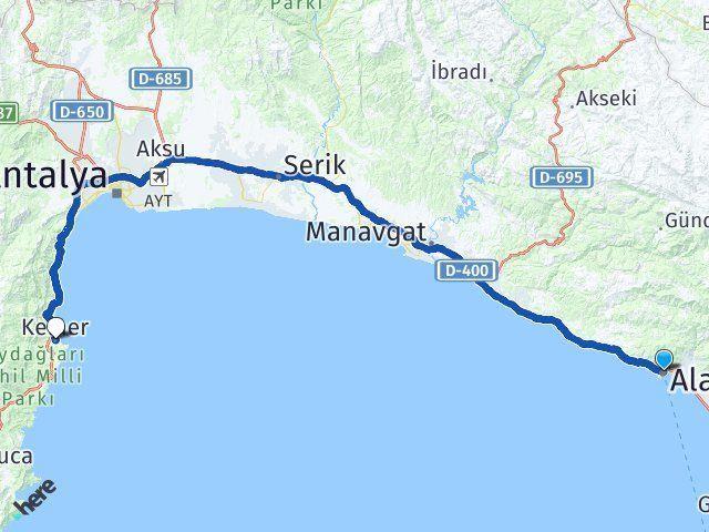 Antalya Alanya Kemer Antalya Arası Kaç Km? Arası Kaç Km Saat? Nerede Yol Haritası Yakıt, Rota ve Mesafe Hesaplama