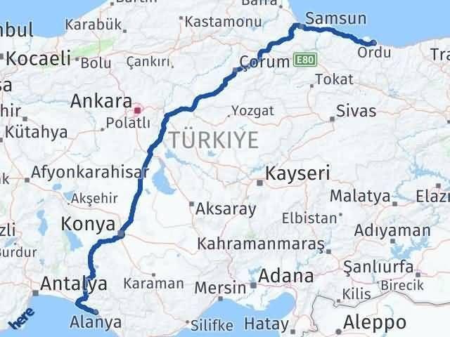 Antalya Alanya   Ordu Arası Kaç Km? Arası Kaç Km Saat? Nerede Yol Haritası Yakıt, Rota ve Mesafe Hesaplama