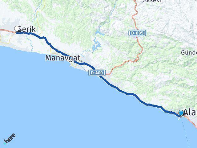 Antalya Alanya Serik Arası Kaç Km? Arası Kaç Km Saat? Nerede Yol Haritası Yakıt, Rota ve Mesafe Hesaplama