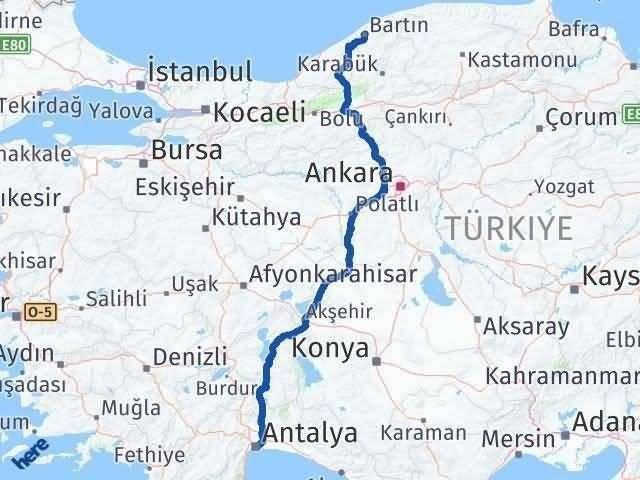 Antalya ile Bartın Arası Kaç Km? Kaç Saat? Arası Kaç Km Saat? Nerede Yol Haritası Yakıt, Rota ve Mesafe Hesaplama
