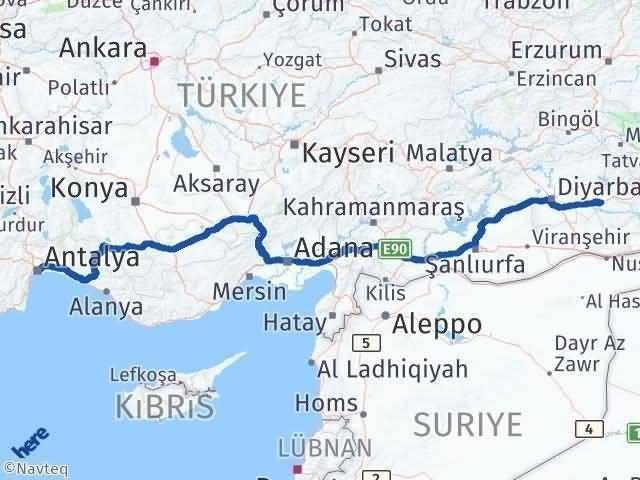 Antalya ile Batman Arası Kaç Km? Kaç Saat? Arası Kaç Km Saat? Nerede Yol Haritası Yakıt, Rota ve Mesafe Hesaplama