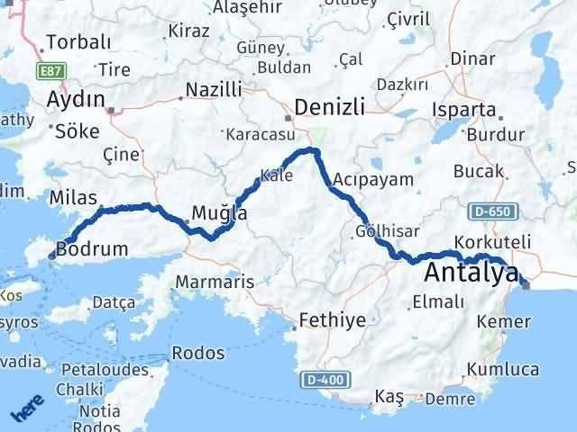 Antalya Bodrum Muğla Arası Kaç Km? - Km hesaplama Arası Kaç Km Saat? Nerede Yol Haritası Yakıt, Rota ve Mesafe Hesaplama