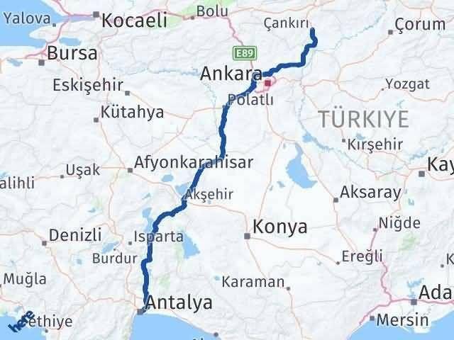 Antalya ile Çankırı Arası Kaç Km? Kaç Saat? Arası Kaç Km Saat? Nerede Yol Haritası Yakıt, Rota ve Mesafe Hesaplama