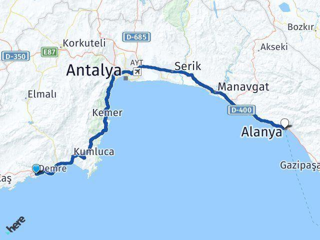 Antalya Demre Alanya Arası Kaç Km? Arası Kaç Km Saat? Nerede Yol Haritası Yakıt, Rota ve Mesafe Hesaplama
