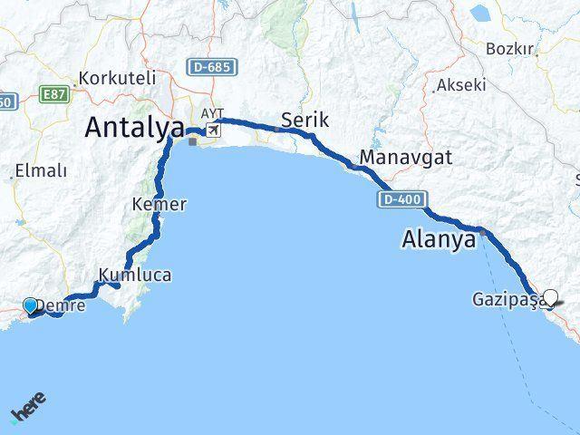 Antalya Demre Gazipaşa Arası Kaç Km? Arası Kaç Km Saat? Nerede Yol Haritası Yakıt, Rota ve Mesafe Hesaplama
