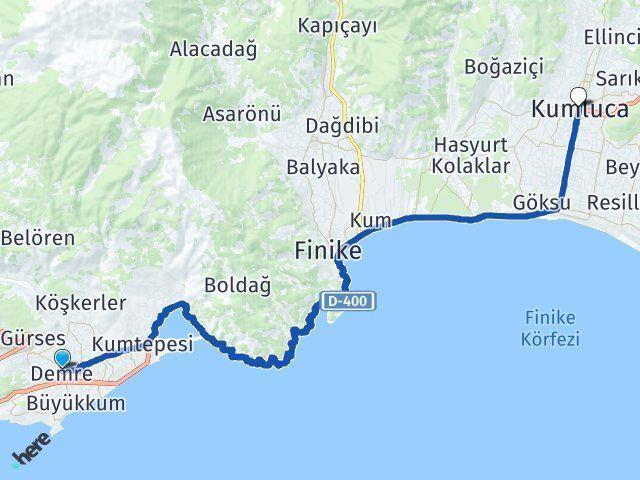 Antalya Demre Kumluca Arası Kaç Km? Arası Kaç Km Saat? Nerede Yol Haritası Yakıt, Rota ve Mesafe Hesaplama