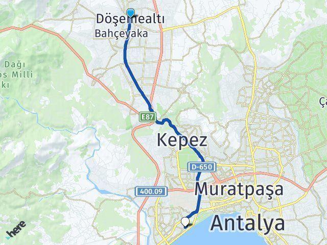 Antalya Döşemealtı Konyaaltı Arası Kaç Km? Arası Kaç Km Saat? Nerede Yol Haritası Yakıt, Rota ve Mesafe Hesaplama