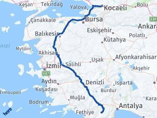 Antalya fethiye arası kaç km