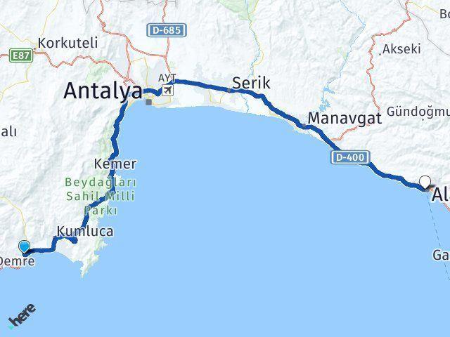 Antalya Finike Alanya Arası Kaç Km? Arası Kaç Km Saat? Nerede Yol Haritası Yakıt, Rota ve Mesafe Hesaplama