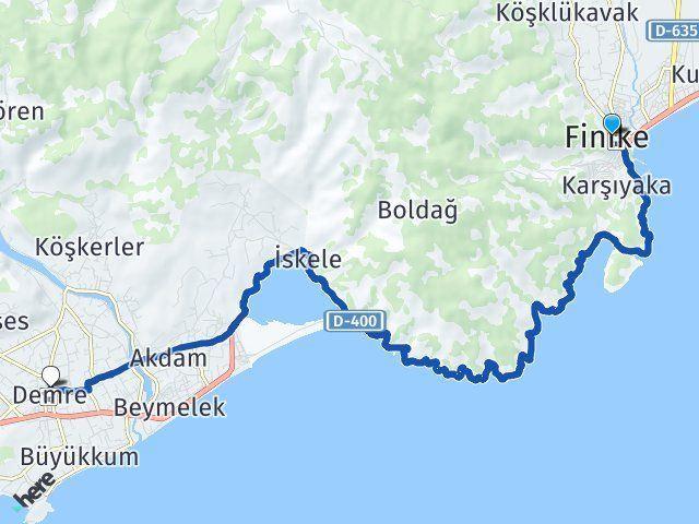 Antalya Finike Demre Arası Kaç Km? Arası Kaç Km Saat? Nerede Yol Haritası Yakıt, Rota ve Mesafe Hesaplama