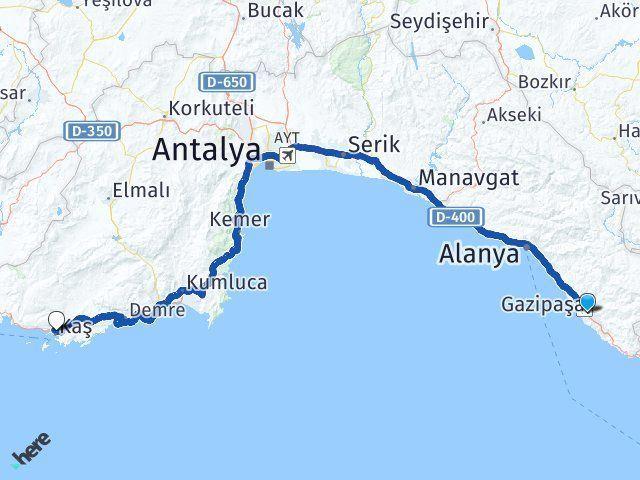 Antalya Gazipaşa Kaş Arası Kaç Km? Arası Kaç Km Saat? Nerede Yol Haritası Yakıt, Rota ve Mesafe Hesaplama