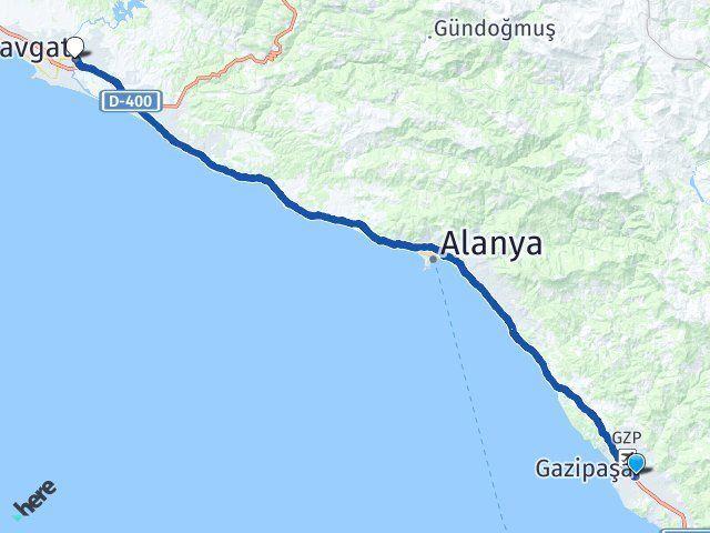 Antalya Gazipaşa Manavgat Arası Kaç Km? Arası Kaç Km Saat? Nerede Yol Haritası Yakıt, Rota ve Mesafe Hesaplama