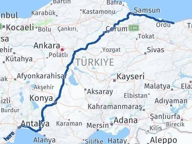 Antalya ile Giresun Arası Kaç Km? Kaç Saat? Arası Kaç Km Saat? Nerede Yol Haritası Yakıt, Rota ve Mesafe Hesaplama
