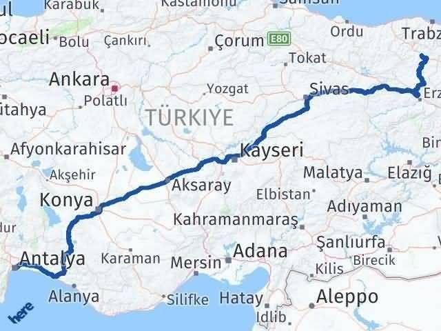Antalya ile Gümüşhane Arası Kaç Km? Kaç Saat? Arası Kaç Km Saat? Nerede Yol Haritası Yakıt, Rota ve Mesafe Hesaplama
