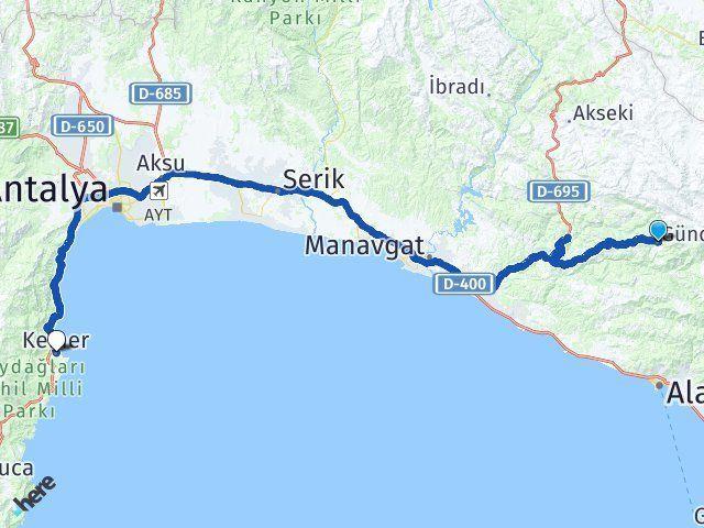 Antalya Gündoğmuş Kemer Antalya Arası Kaç Km? Arası Kaç Km Saat? Nerede Yol Haritası Yakıt, Rota ve Mesafe Hesaplama