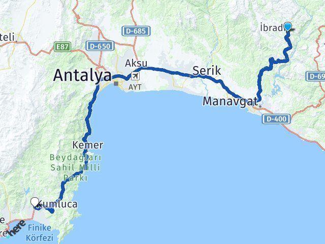 Antalya İbradı Kumluca Arası Kaç Km? Arası Kaç Km Saat? Nerede Yol Haritası Yakıt, Rota ve Mesafe Hesaplama