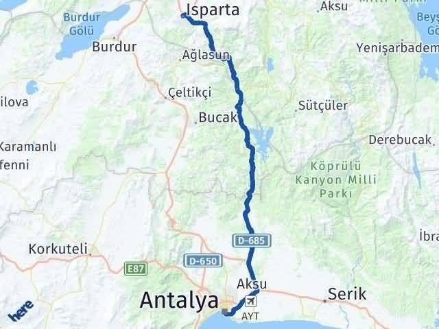 Antalya ile Isparta Arası Kaç Km? Kaç Saat? Arası Kaç Km Saat? Nerede Yol Haritası Yakıt, Rota ve Mesafe Hesaplama