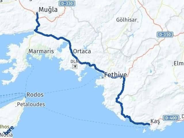 Antalya Kaş   Muğla Arası Kaç Km? Arası Kaç Km Saat? Nerede Yol Haritası Yakıt, Rota ve Mesafe Hesaplama