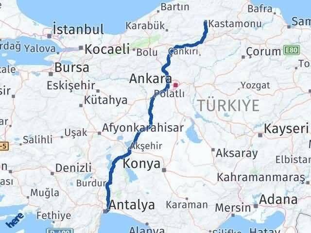 Antalya ile Kastamonu Arası Kaç Km? Kaç Saat? Arası Kaç Km Saat? Nerede Yol Haritası Yakıt, Rota ve Mesafe Hesaplama