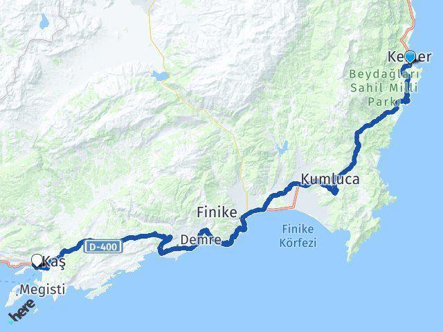 Kemer Antalya Kaş Arası Kaç Km? Arası Kaç Km Saat? Nerede Yol Haritası Yakıt, Rota ve Mesafe Hesaplama