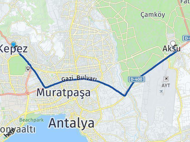 Antalya Kepez Aksu Antalya Arası Kaç Km? Arası Kaç Km Saat? Nerede Yol Haritası Yakıt, Rota ve Mesafe Hesaplama
