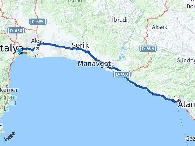 Antalya Konyaaltı Alanya Arası Kaç Km? Arası Kaç Km Saat? Nerede Yol Haritası Yakıt, Rota ve Mesafe Hesaplama