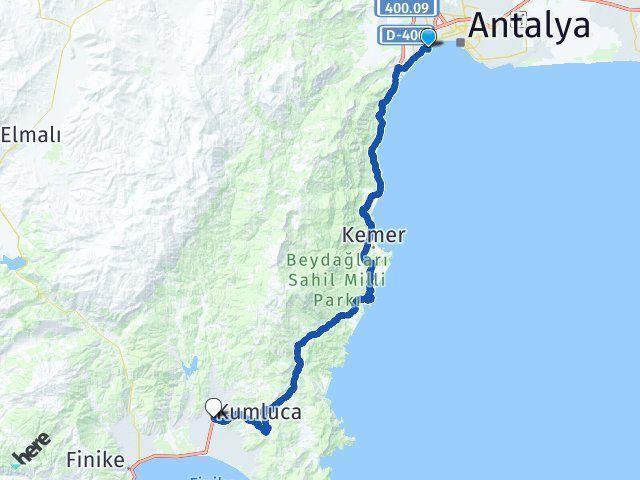 Antalya Konyaaltı Kumluca Arası Kaç Km? Arası Kaç Km Saat? Nerede Yol Haritası Yakıt, Rota ve Mesafe Hesaplama