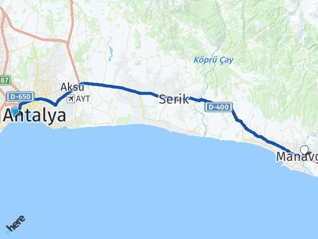 Antalya Konyaaltı Manavgat Arası Kaç Km? Arası Kaç Km Saat? Nerede Yol Haritası Yakıt, Rota ve Mesafe Hesaplama