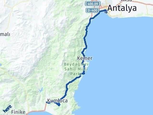Antalya Kumluca Arası Kaç Km? Yol Haritası - Km Hesaplama Arası Kaç Km Saat? Nerede Yol Haritası Yakıt, Rota ve Mesafe Hesaplama